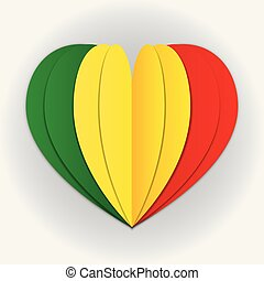 Mali flag paper cut heart. Independence Day. Love of country...