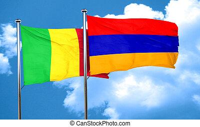 Mali flag with Armenia flag, 3D rendering