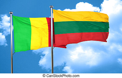 Mali flag with Lithuania flag, 3D rendering