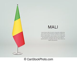 Mali hanging flag on stand. Template forconference banner - ...