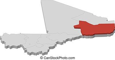 mali, landkarte, 3d-illustration, -, gao