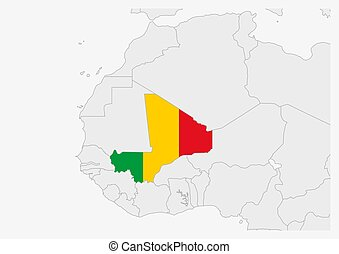 Mali map highlighted in Mali flag colors, gray map with ...