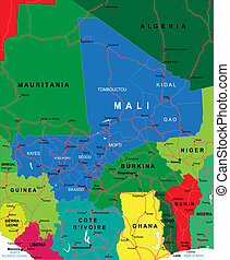 Mali map - Highly detailed vector map of Venezuela with ...