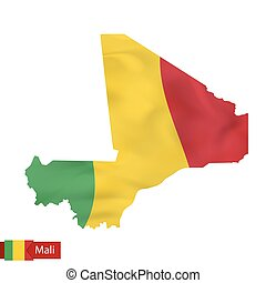 Mali map with waving flag of country.