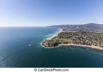 malibu, aéreo, ponto, dume, califórnia, contorno costa