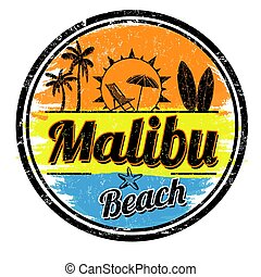 Malibu Beach sign or stamp