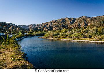 Malibu Creek, seen from Pacific Coast Highway, in Malibu, Califo