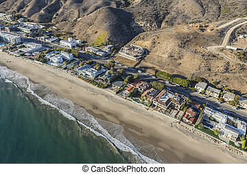 Malibu, fridsam, kust, Hus, längs, strand, Motorväg