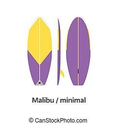 Malibu Minimal Surfboard Desk Vector Illustration