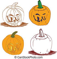 Malicious smiley Halloween pumpkin vector set