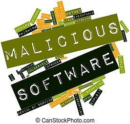 Malicious Software - Abstract word cloud for Malicious...