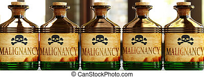 Malignancy can be like a deadly poison - pictured as word Malignancy on toxic bottles to symbolize that Malignancy can be unhealthy for body and mind, 3d illustration.