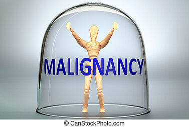 Malignancy can separate a person from the world and lock in an isolation that limits - pictured as a human figure locked inside a glass with a phrase Malignancy, 3d illustration.