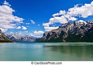 maligne, lake., canadese, rockies., diaspro, nazionale, park., alberta., canada.
