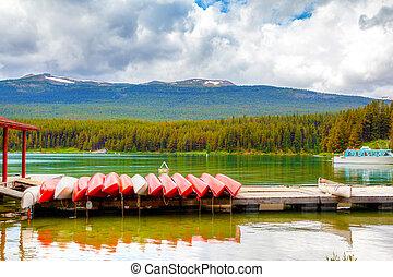 Maligne Lake in Jasper National Park in Alberta Canada