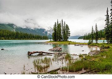 Maligne Lake on a Cloudy Day