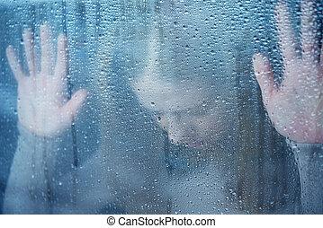 malinconia, e, triste, giovane, finestra, pioggia