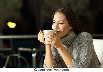 malinconico, donna, godere, cofee, sbarra, notte