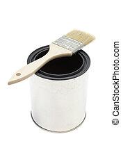 maling børst, og, spand