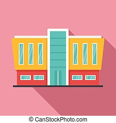 Mall building icon, flat style