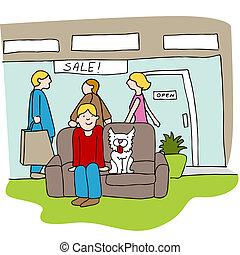 mall, buiten, klanten