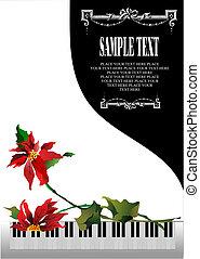 mall, hälsningskort, med, vit, piano, och, blomma