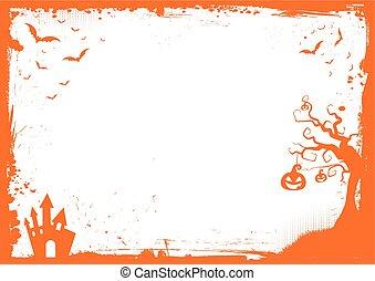 mall, halloween, element, bakgrund, apelsin gräns