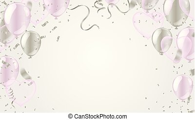 mall, heart., bilda, valentinkort, illustration, luft, realistisk, vektor, konfetti, sväller, dag, ormliknande