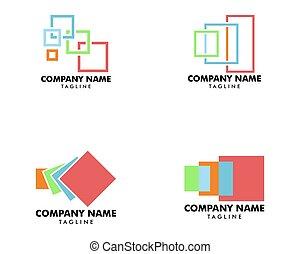 mall, ikon, illustration, set formge, vektor, logo, svars-