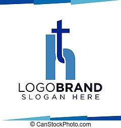 mall, initial, ht, vektor, brev, logo