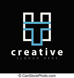 mall, initial, ht, vektor, brev, logo, fodra, ikon