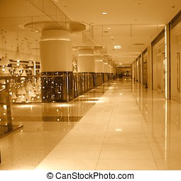 Mall Interior - -- with  massive columns and polished floors