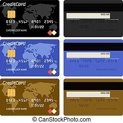 mall, kort, vektor, kreditera, realistisk, bank