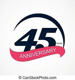 mall, logo, 45, årsdag, vektor, illustration