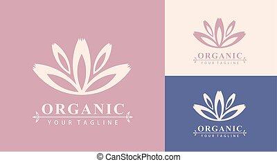 mall, logo, lotus, affär, kurort, blomma, massera, skönhet, vektor, logo., organic., salon, abstrakt, kosmetika, kurort, ikon, icon., design, card., yoga, fashion., hotell