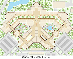 Mall map - Editable vector illustration of an unlabelled...