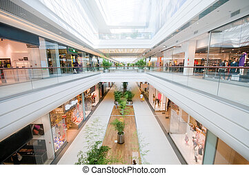 mall, moderní, nakupování