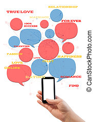 mall, text, smartphone, isolerat, plats, datering, direkt, vit