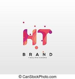 mall, vector., ht, initial, färgrik, logo