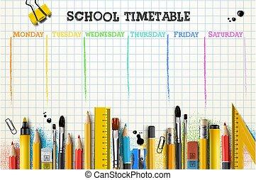 mall, vektor, illustration, pupils., tidtabell, eller, skola, deltagare