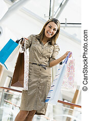 mall, vrouw winkelen