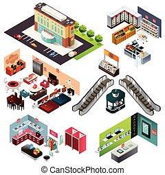 mall, zakupy, isometric
