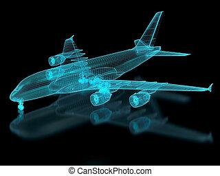 malla, avión comercial