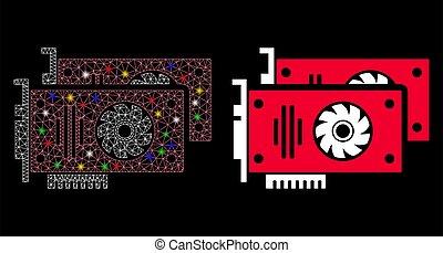 malla, tarjetas, res muerta, llamarada, puntos, gráfico, icono, acelerador