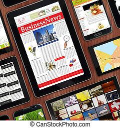 mallar, befordrings-, digital, enheter, trä, tabletop