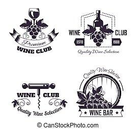 mallar, butik, hinder, klubb logera, set., etikett, logo, eller, winemaking, vin