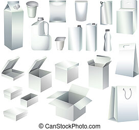 mallar, emballering, rutor, papper, flaskor