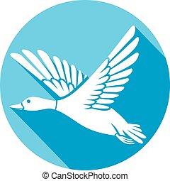 mallard duck flying flat icon
