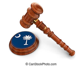 Mallet and flag Of South Carolina - 3d wooden mallet and ...