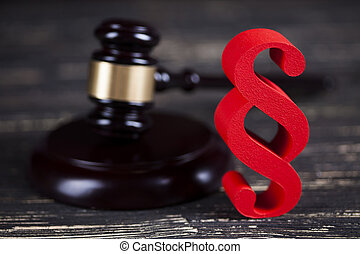 Mallet, Law, legal code and scales of justice concept and...